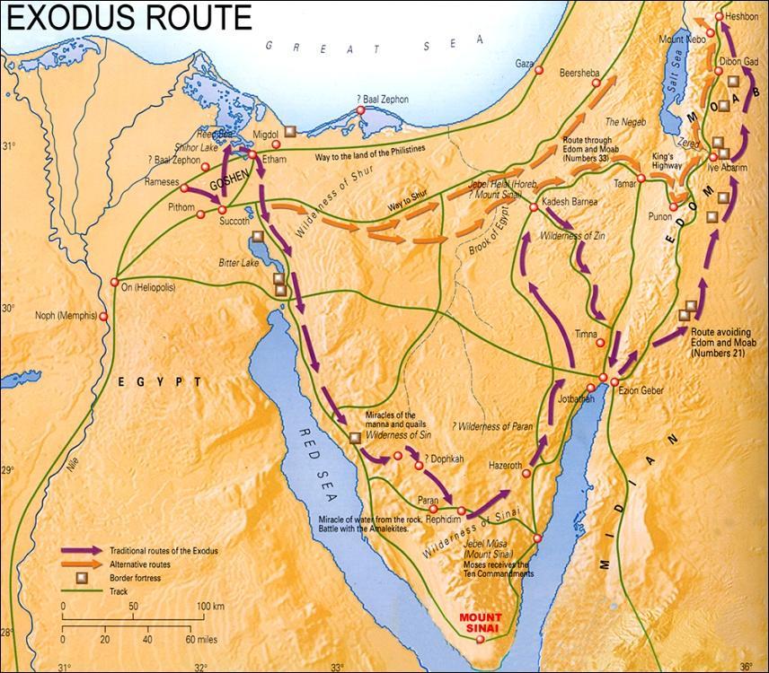 Map Israelites Wandering Desert